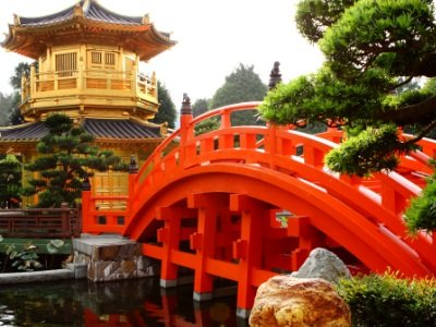 Hong Kong_oriental golden pavilion of Chi Lin Nunnery and Chinese garden400x300