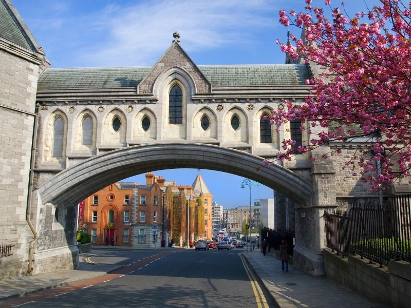 Dublin cityscape, part of the Christ Church Cathedral on the first_800x600