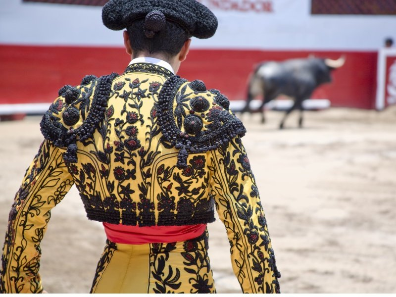 Espanja_Matador in Ring with Bull_800x600