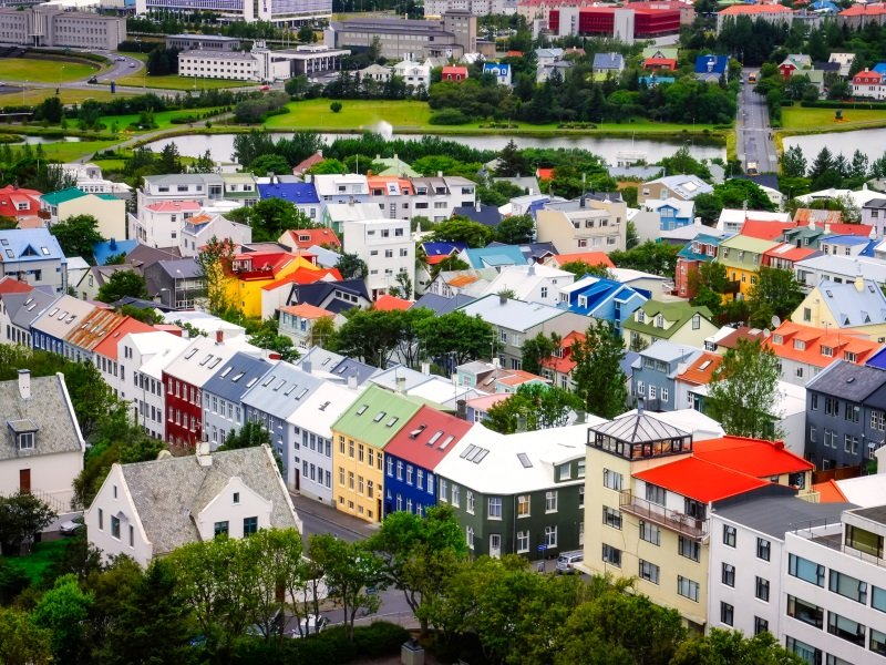 Reykjavik city bird view of colorful houses, Iceland_800x600