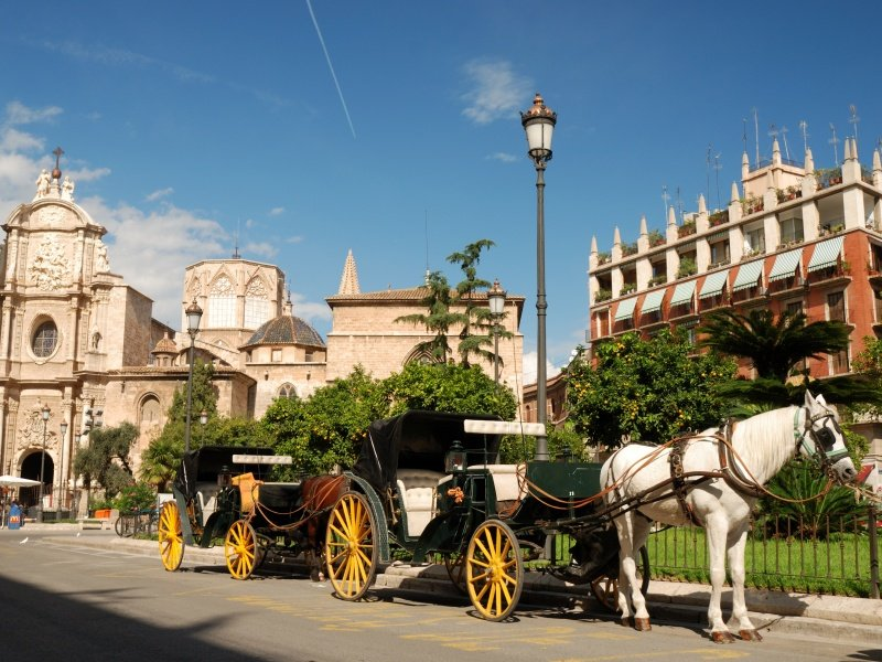 Valencia_Horse driven cabs in Valencia, Spain_800x600