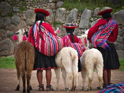 Peru_Peruvian Girls and Alpacas at Sacsayhuaman, Cusco Peru_800x600