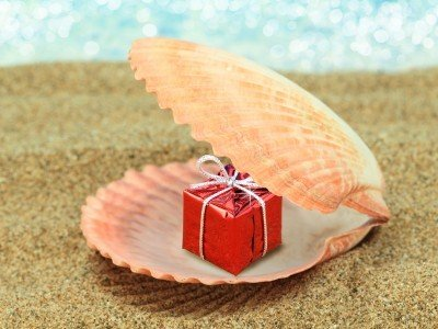 Lahja_Present_Gift box in a sea shell on the beach_800x600