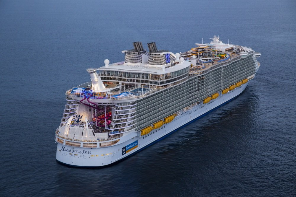 HM, Harmony of the Seas, Aerial, Offshore Barcelona (Spain) June 6, 2016, 3/4 view aft, rear, starboard side, at sea,