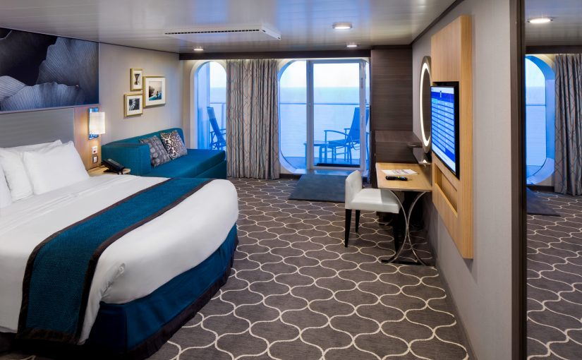 HM, Harmony, of the Seas, Accessible Superior Ocean View w/Balcony Cat. D5 - Room #12162 Deck 12 Forward Portside, no people, stateroom, suite, cabin, two rooms, bed, bedding couch, desk, flat screen monitor, decor, artwork,